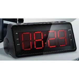 Радиобудильник SUPRA SA-46FM, черный, подсветка красная