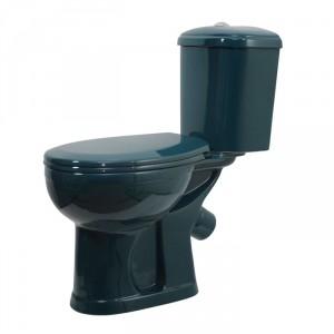 Унитаз-компакт Оскольская Керамика Дора косой выпуск, нижний подвод, сиденье полипропилен, зеленый