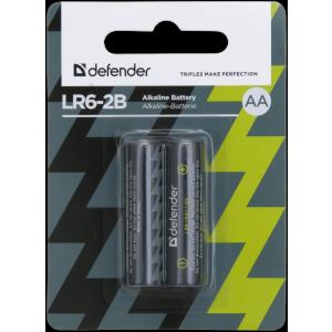 Батарейка алкалиновая Defender LR6-2B AA, в блистере 2 шт