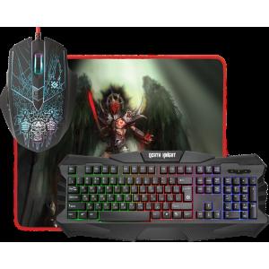 Игровой набор DEFENDER Death Knight MKP-007 RU, мышь + клавиатура + коврик