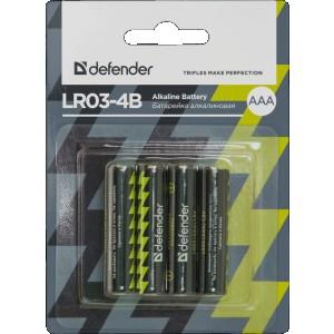 Батарейка Defender LR03-4B AAA, 4 шт