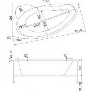 Каркас для ванны BAS Лагуна 170х110 с монтажным набором